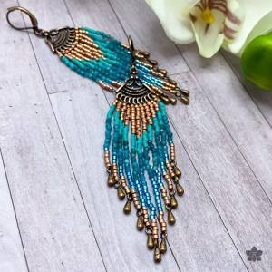 brick stitch chandelier fringe earrings