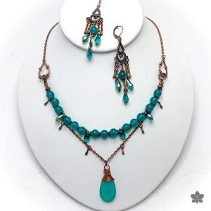 teal quartz and copper pendant necklace and earrings