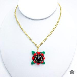 Red and Black Poppy Flower Beaded Necklace