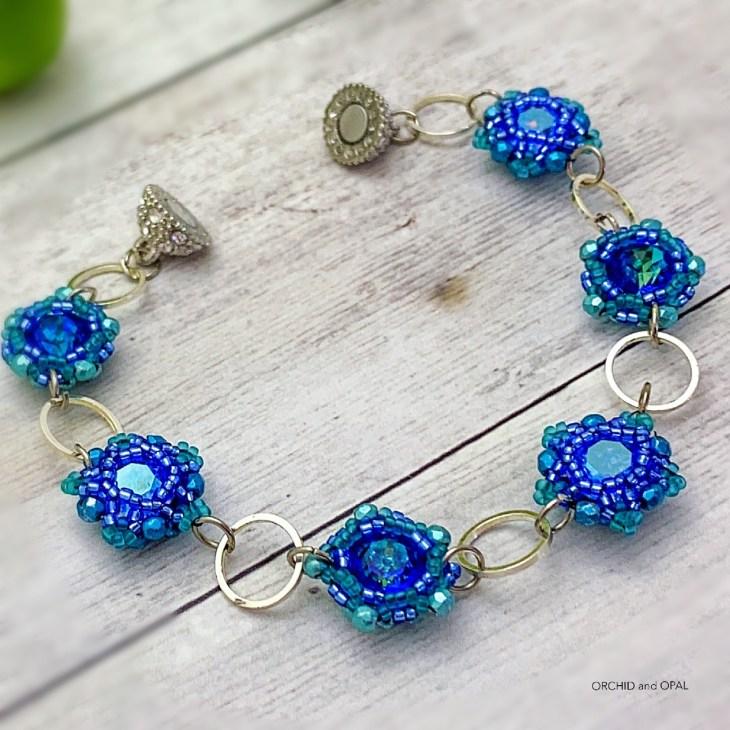 floral links chaton beaded bezel bracelet blue