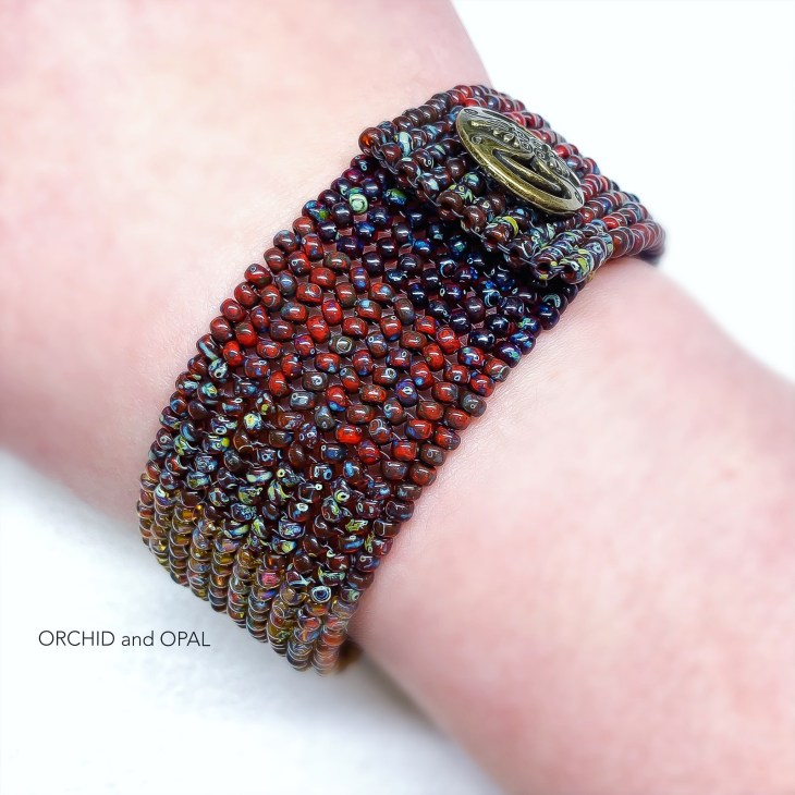 flat herringbone beaded bracelet