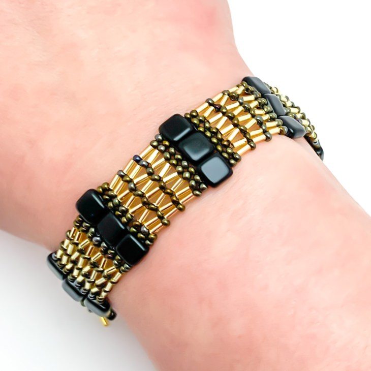 Bugle Bead Herringbone and Tile Bracelet Tutorial