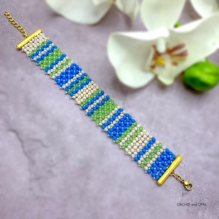 flat chenille beading stitch tutorial - stripes