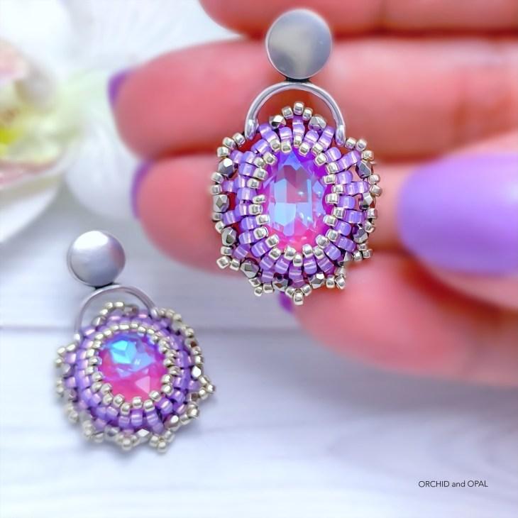 Golden Hour Crystal Beaded Earrings - lavender