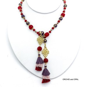 purple and red tassel lariat beaded necklace