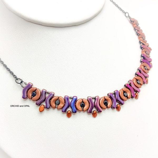 garland beaded necklace - copper/purple iris