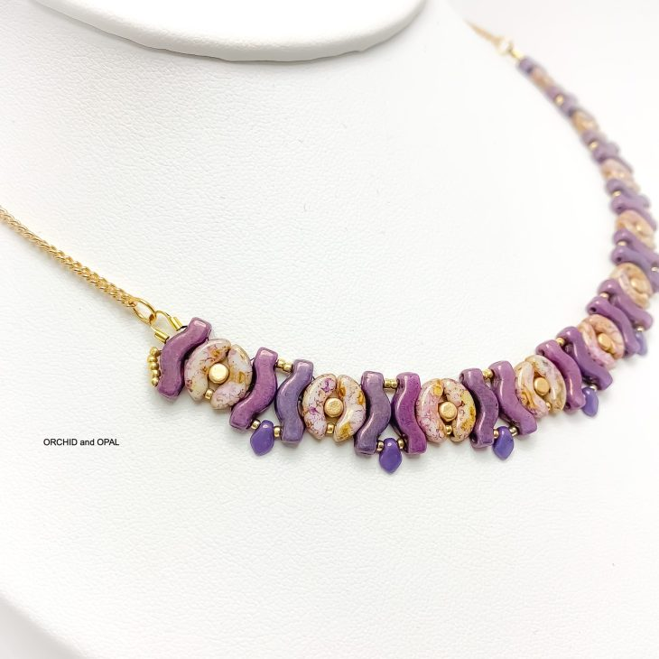 garland beaded necklace pink and purple