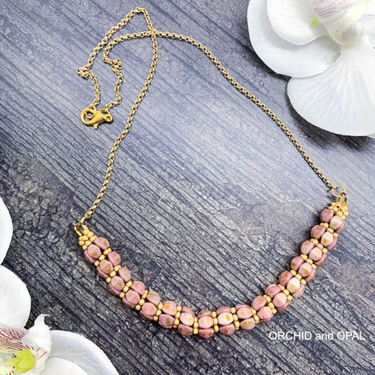 pinch bead rope necklace