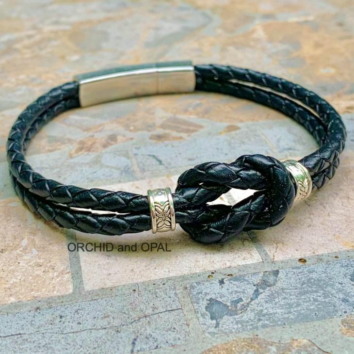 mens leather handmade diy knot bracelet