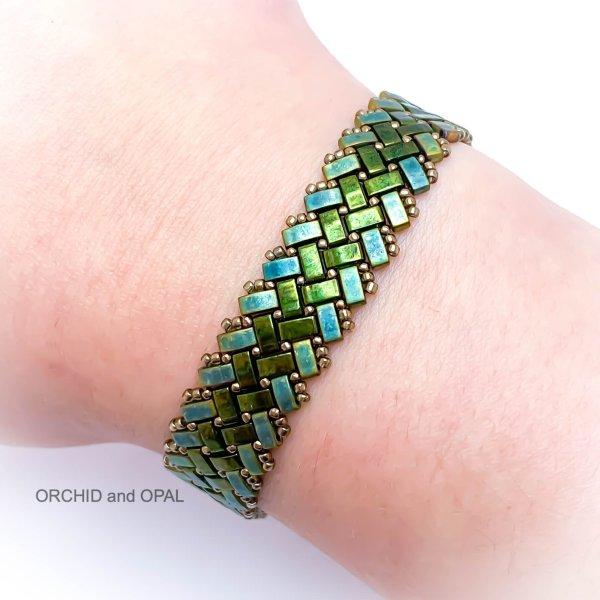 Beading Pattern - Half Tila Herringbone Beaded Bracelet - Horizontal Slim Stripe