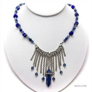 Lapis Lazuli Beaded Chain and Fringe Necklace