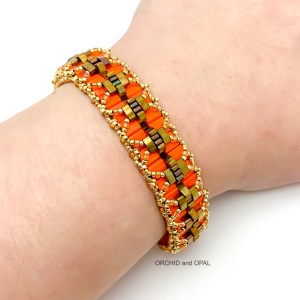 Pleated Tila Bracelet by Orchid and Opal orange and bronze
