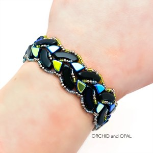 Braided Quadbow Bracelet Orchid and Opal blue iris and black