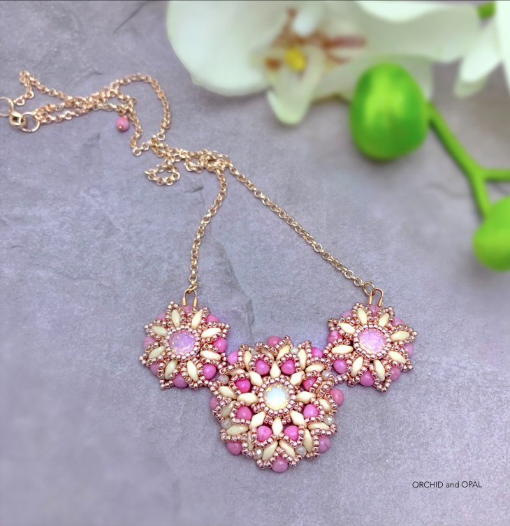 Spring Blossoms Necklace_Orchid and Opal_2