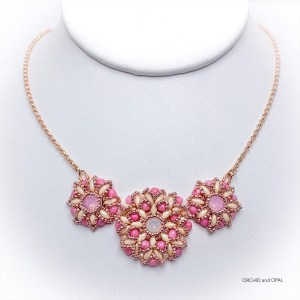 Spring Blossoms Beaded Necklace - Pink/Cream