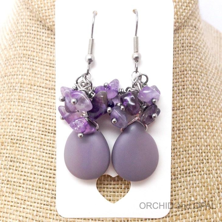 Gemstone chip cluster earrings