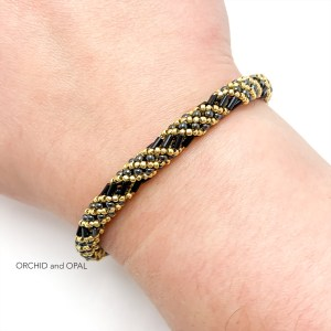 russian spiral gold and black seed bead bracelet