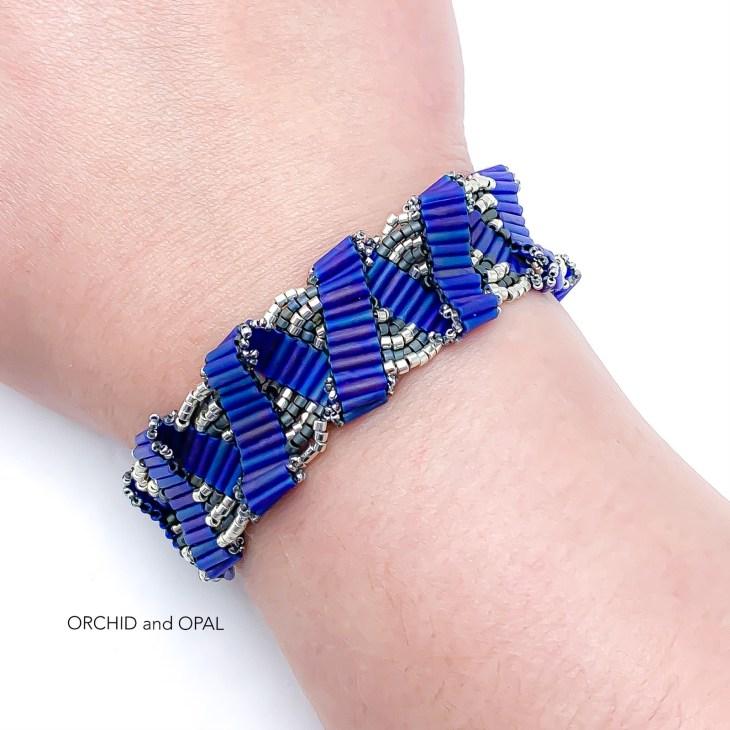 bugle bead ribbon bracelet