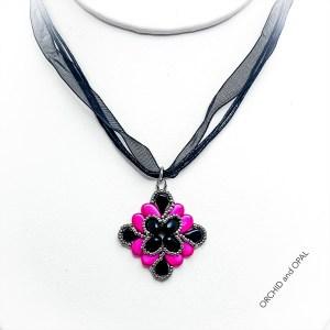 paisley flourish pendant necklace pink