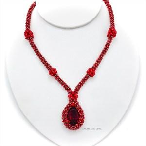 red swarovski oval pendant necklace
