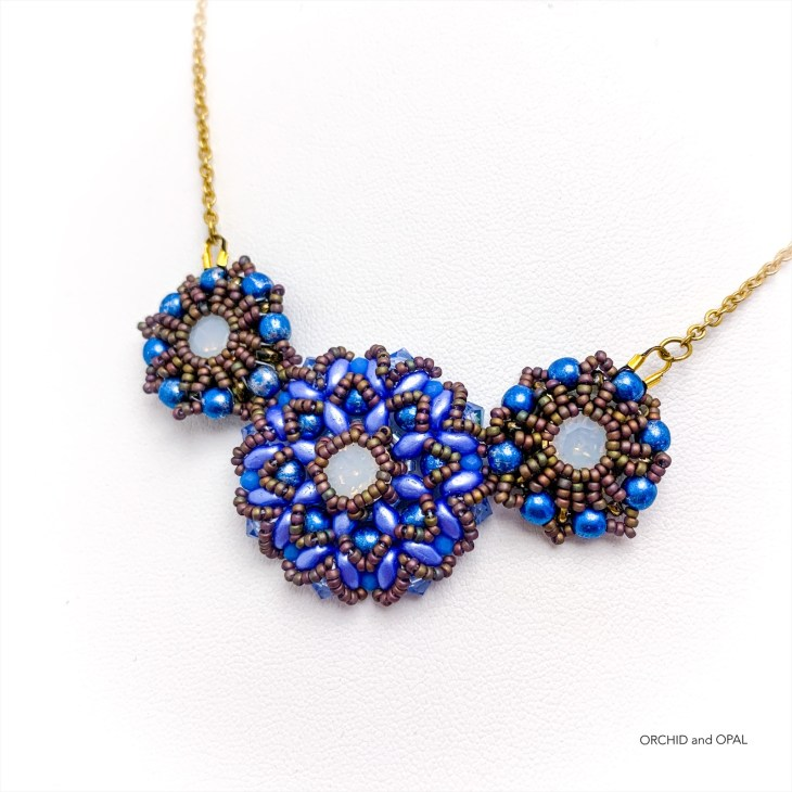 spring blossoms pendant necklace blue