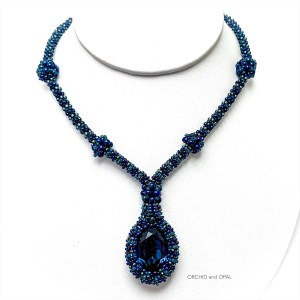 blue prismatic swarovski pendant necklace