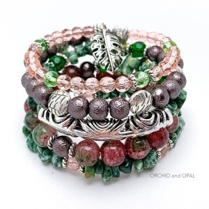 jade memory wire and pink bracelet