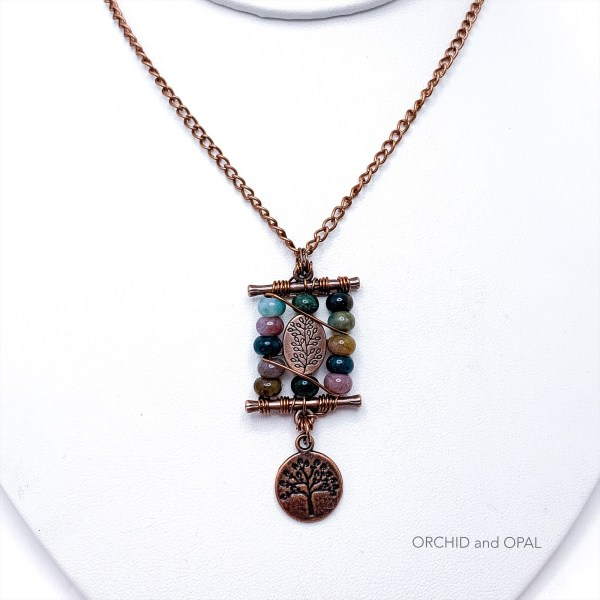 Antique copper and fancy jasper toggle bar necklace