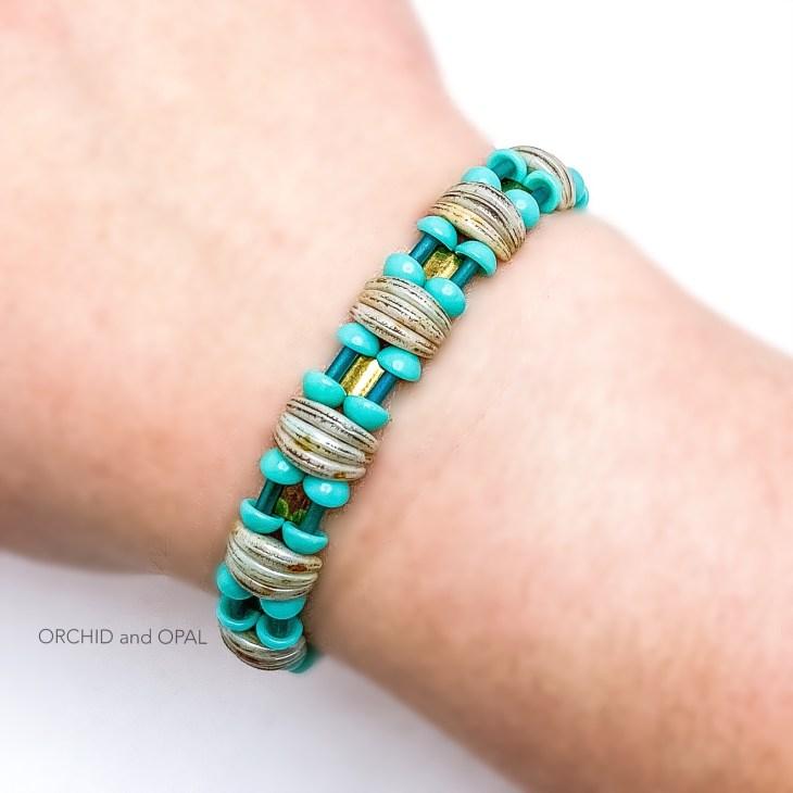 backlit bracelet turquoise and bronze