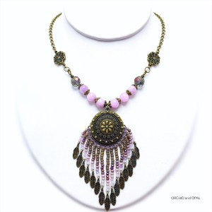 Lilac Quartz and Crystal Fringe Necklace