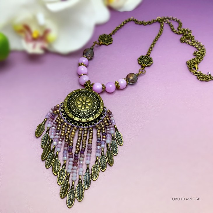 Lilac Quartz and Crystal Fringe Necklace
