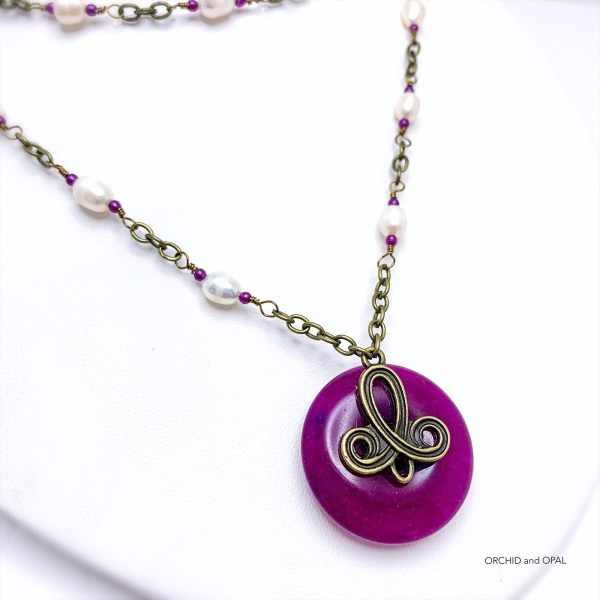 Freshwater Pearl and Magenta Quartz Pendant Necklace