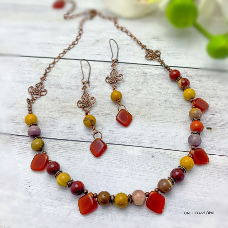 Mookaite and Copper Beaded Necklace and Earrings