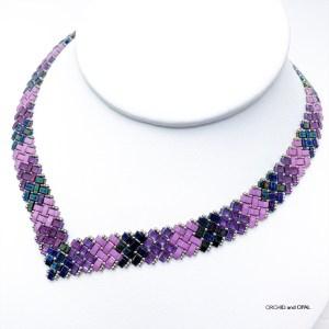 Half Tila Herringbone V Necklace - Purple