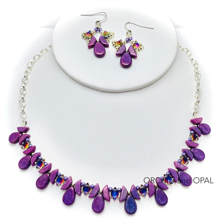 tantalizing tinos beaded necklace and earrings purple
