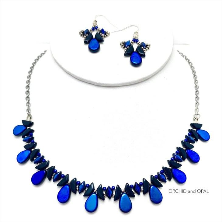 tantalizing tinos beaded set blue black