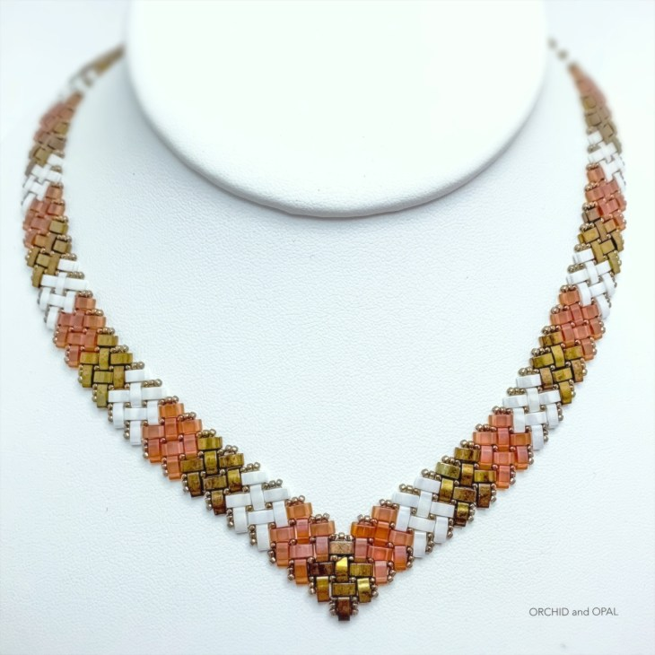 half tila herringbone v-necklace_orchid and opal 5
