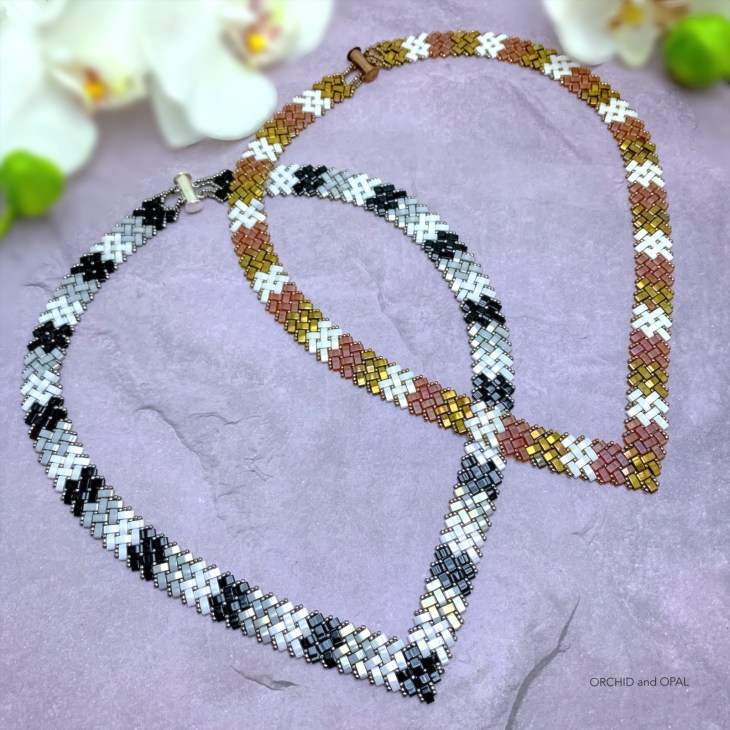 half tila herringbone v-necklace_orchid and opal 6