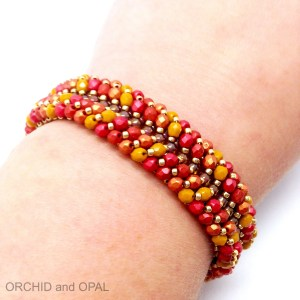 chevron channel fire polish and seed bead bracelet