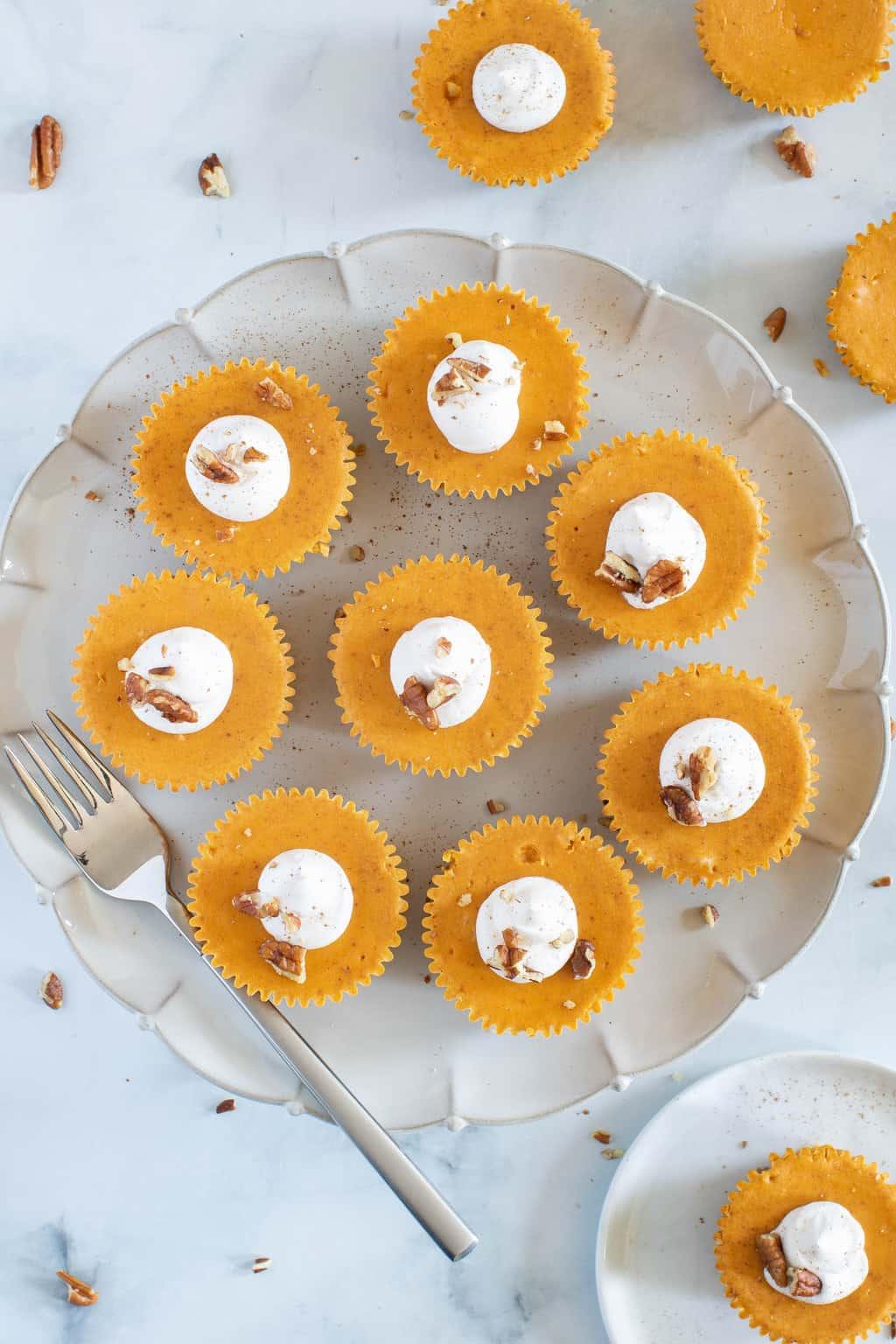 Pumpkin Cheesecake Bites + Pecan Crust