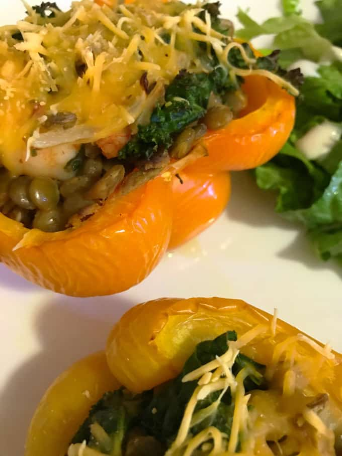 Shrimp, Lentil + Kale Stuffed Peppers Recipe