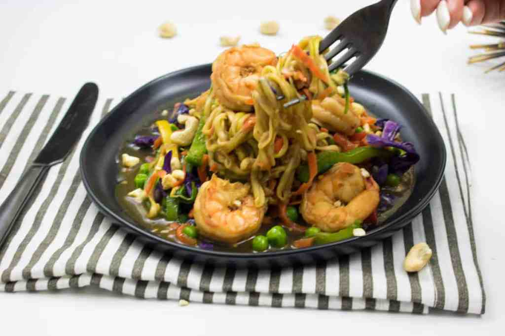 Carrot and Zucchini Noodles Stir Fry with Shrimp + Veggies