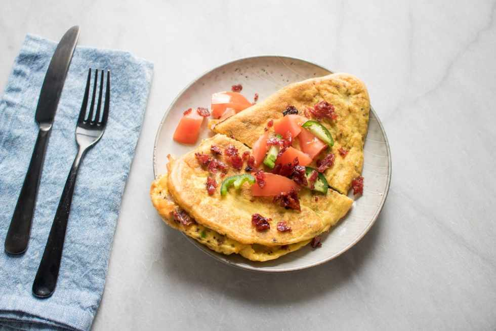 Bacon + Veggie Sunrise Breakfast Omelet