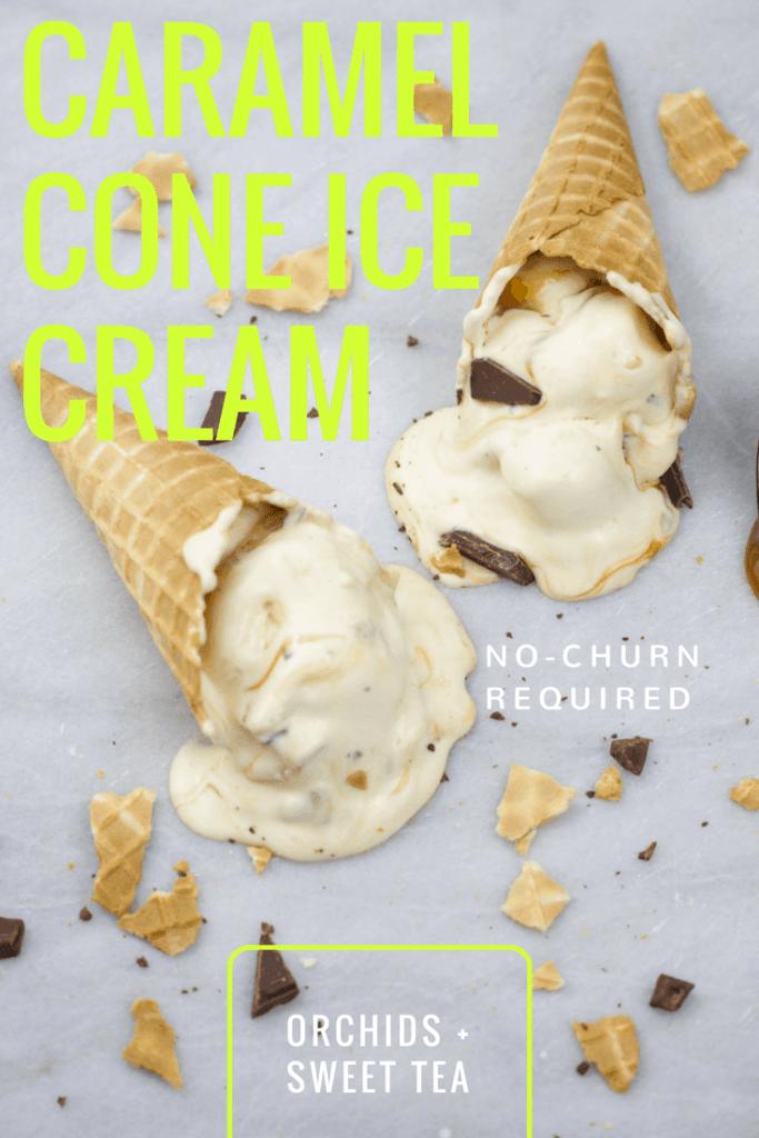 No-Churn Caramel Cone Ice Cream