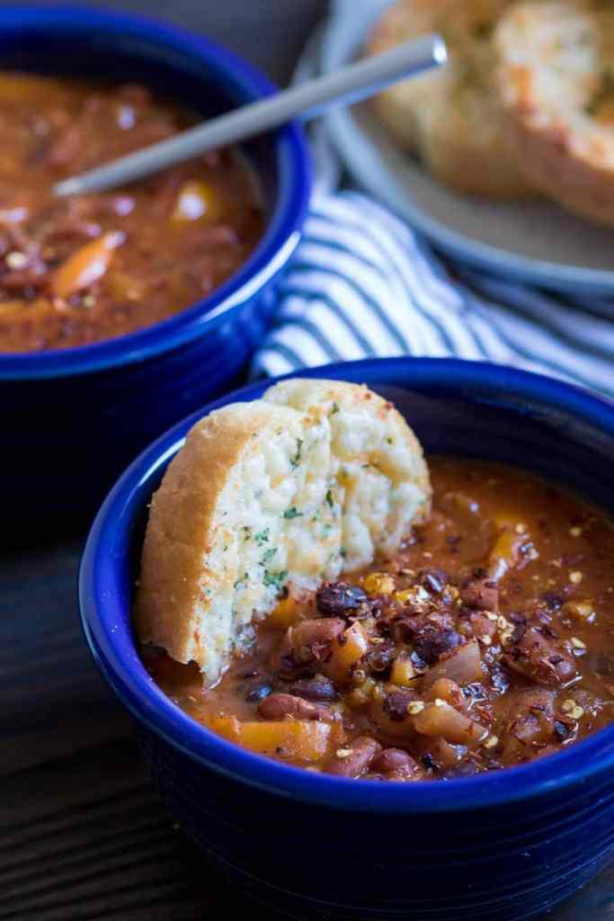 Homemade Spicy Mixed Beans Vegan Chili