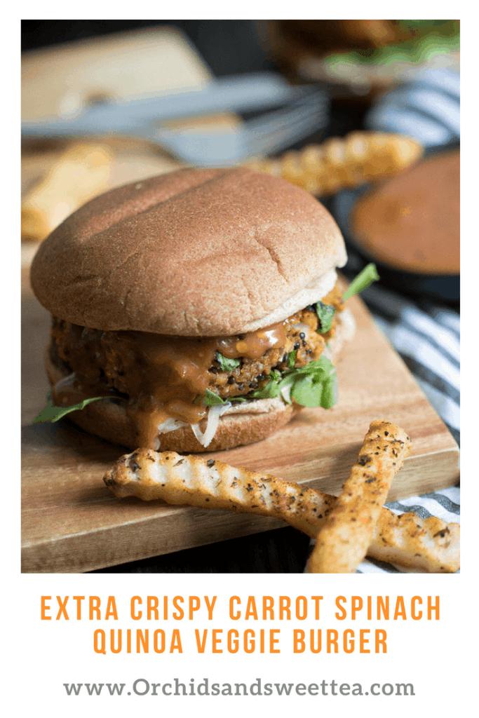 Extra Crispy Carrot Spinach Quinoa Veggie Burger
