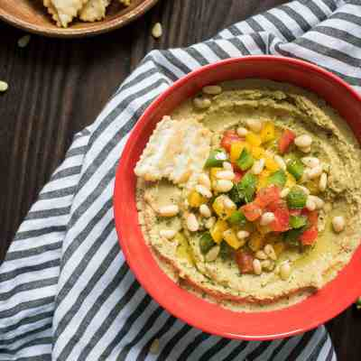 Avocado Hummus with Peppers + Pine Nuts