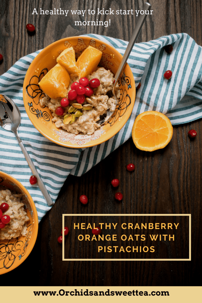Healthy Cranberry Orange Oats with Pistachios