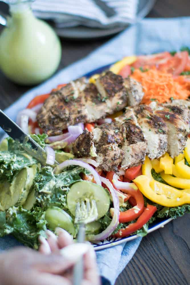 Oven Baked Jamaican Jerk Chicken Salad