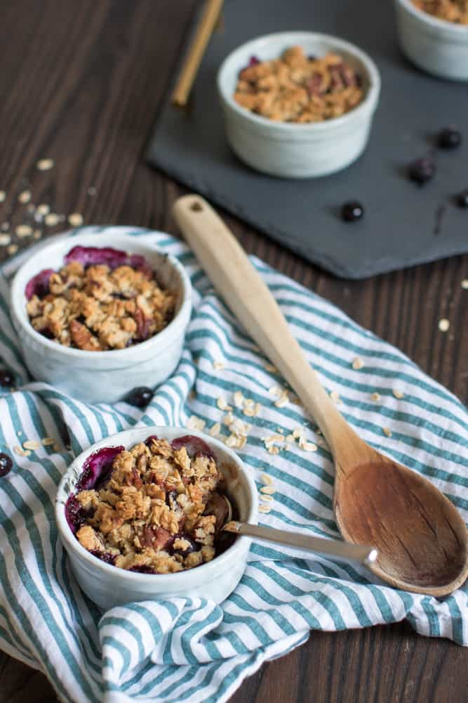 Gluten Free + Vegan Maple Peach Blueberry Crisp